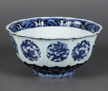 CHINESE PORCELAIN BLUE/WHITE BOWL - Ming-style.Ten sections; separations continue at flared rim. Foot is scalloped. Five-clawed drag...