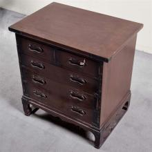 SMALL CHEST - Korean reproduction with five drawers, blackened hardware and skid type feet. Condition good. 20th century. 24