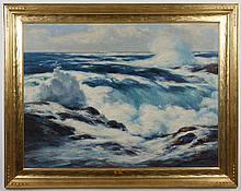 ARNOLD G SCHEELE (1886 - 1973, OH) OIL ON CANVAS - Painting of rocky coastline with ocean waves, placed in gold gilt frame