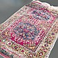 ADDENDUM: CARPET: HANDWOVEN ARDEBIL - Wool on a cotton warp with deep pile, double latch-hook hexagonal medallions on a red field in...