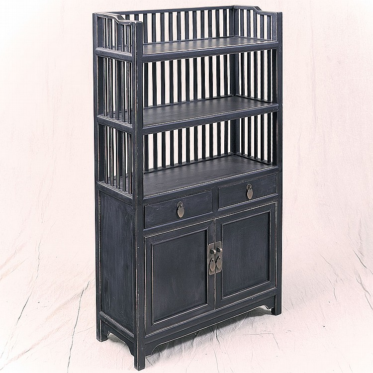 ETAGERE/BOOKSHELF - Asian style elm or hickory with ebonized finish, three-tier open display area, multiple vertical slats, two stor...