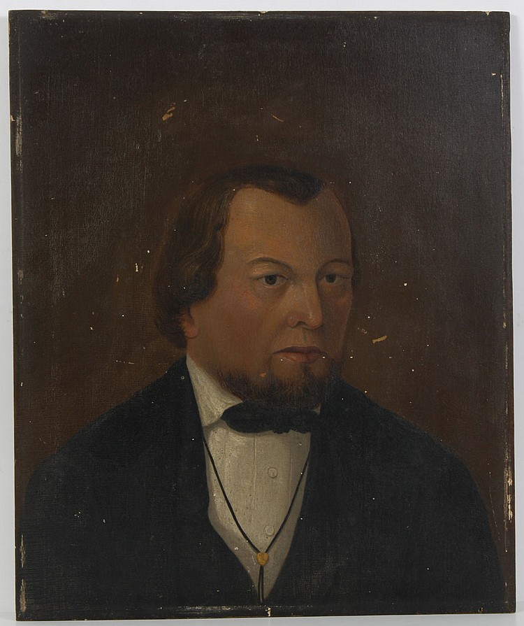 OIL ON BOARD - Unsigned portrait of man in black suit. Pencil sketch of figure on reverse. Condition good to fair; scattered wear co...