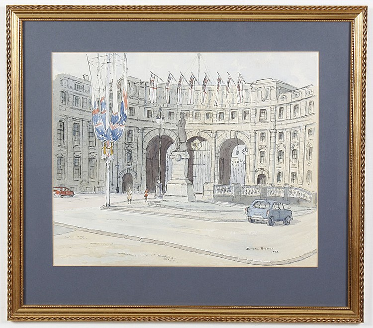 WATERCOLOR ON PAPER - Signed Duncan Russell; Admiralty Arch watercolor. Condition good. Dated 1973. 20.5