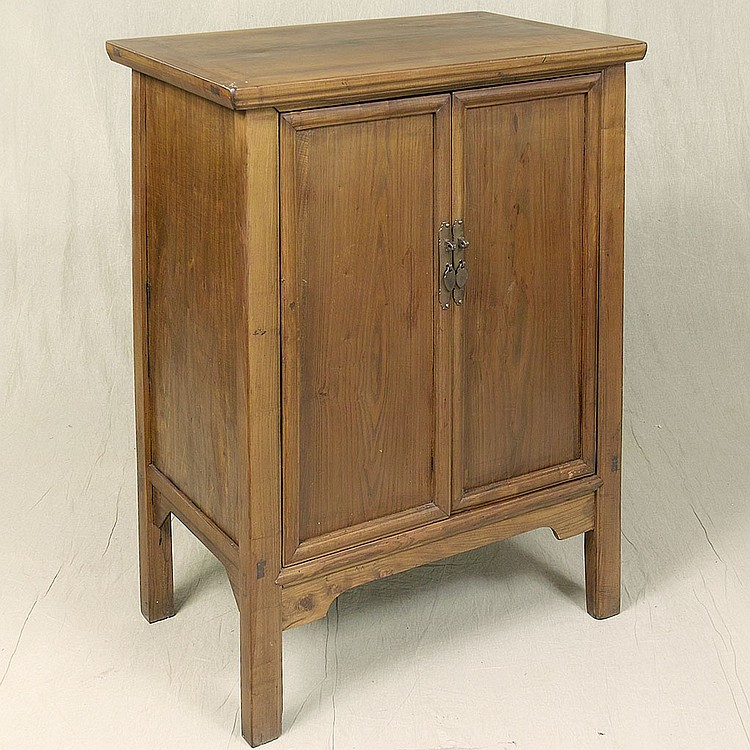 DOUBLE DOOR CABINET - Chinese elm with through-tenon construction elements, rectilinear form, brass hardware and interior shelf. Con...