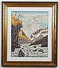 WATERCOLOR AND GOUACHE ON PAPER - Landscape of river and mountains; with artist seal. Condition good. Mid to late 20th century. 28