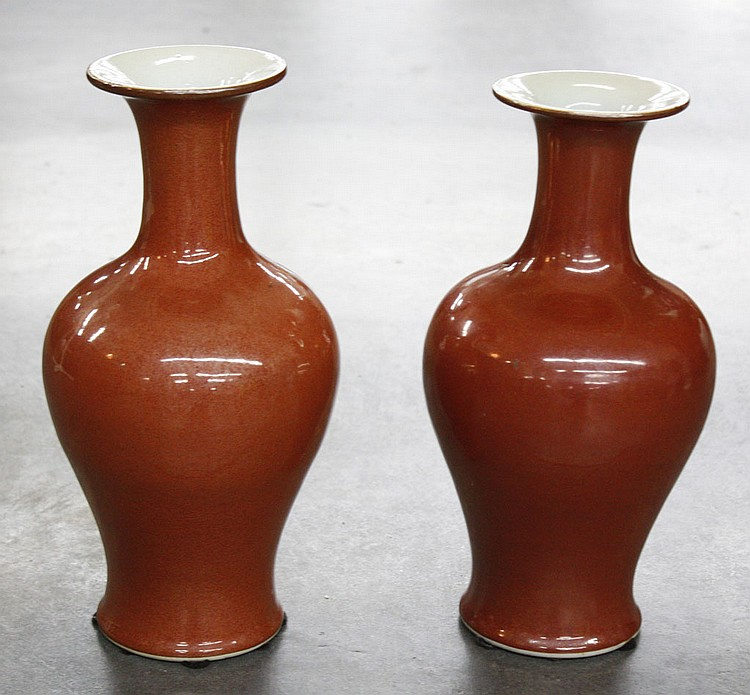 PAIR OF CHINESE VASES - Classical shaped oxidized red-orange vases. Condition good. 13
