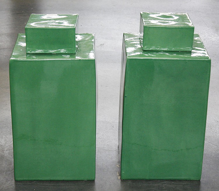 PAIR OF CHINESE SQUARE COVERED JARS - Pair of Chinese green square ceramic jars with lids. Condition good. 19