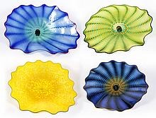 AGGREGATE OF FOUR CHIHULY PERSIAN GLASS WALL SCULPTURES - Includes 2 Puget Blue, Golden Persian and Forest as described in previous...