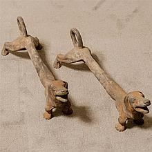 PAIR ANTIQUE DACHSHUND ANDIRONS - Cast iron with natural patina showing appropriate age and use. Unmarked. Condition good. Early 20t...