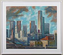 PAUL HAVAS (1940-2012, WA) OIL ON PAPER - Signed and dated at lower right. A cityscape, titled