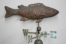 FISH-THEMED WEATHERVANE - Metal pole holding copper directionals and 2 spacer balls