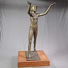 PHILLIP LEVINE (1931- , WA/CO) SCULPTURE - A life size silicon bronze depicting a girl with outstretched arms
