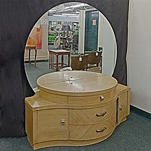 DRESSING TABLE - Mid-Century Modern design with large, circular, flat mirror, convex center section with center drawer flanked by st...