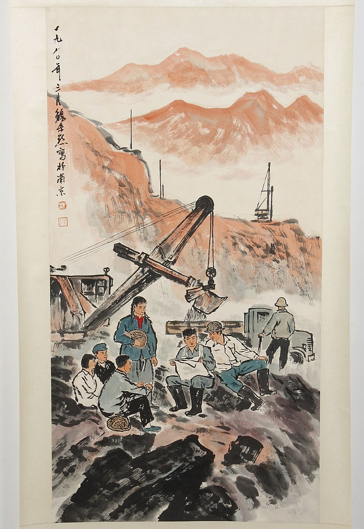 WATERCOLOR ON PAPER - Chinese scroll with artist seal, of seated workers near crane. Condition good. Late 20th century. 38.5