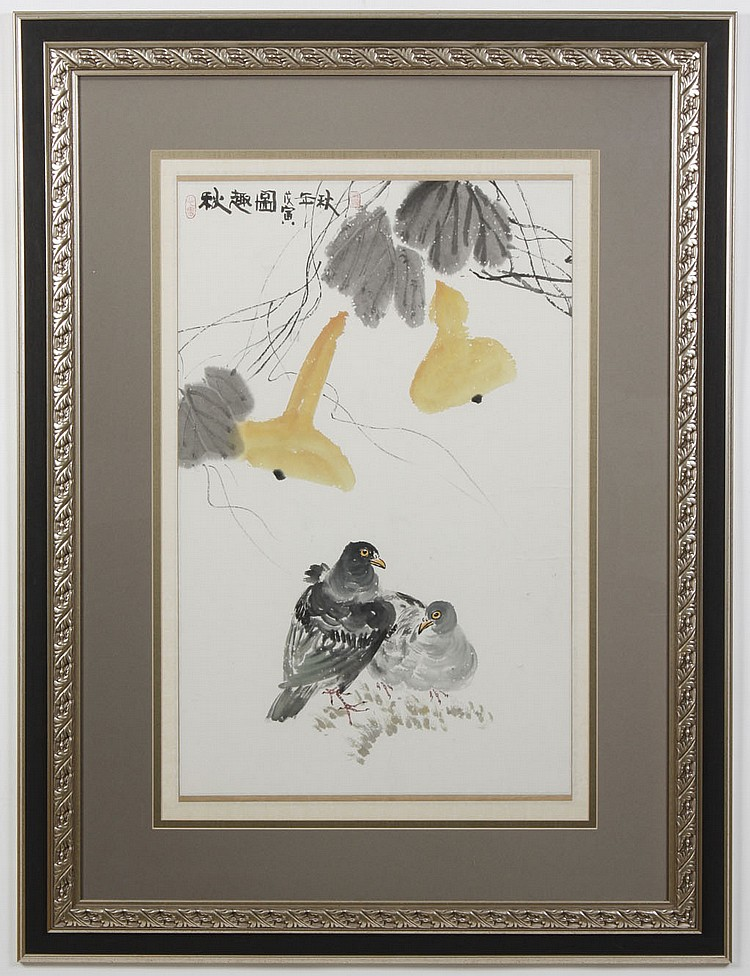 WATERCOLOR ON PAPER -Chinese painting of two birds under branches, with artist seals. Condition good. Mid to late 20th century. 41