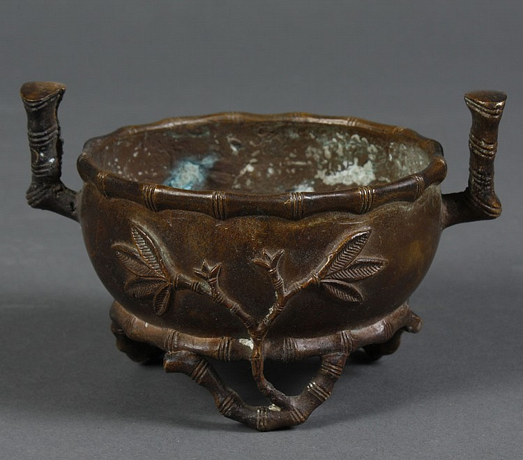 CHINESE BRONZE CENSER - Tripod censer with bamboo raised design and legs with bamboo characteristics. Character mark to base. Condit...