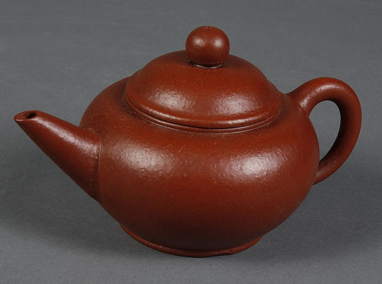 CHINESE YI XING CLAY TEA POT - Reddish brown, classic shape with cover. Seal mark and characters to base. Condition excellent; no da...