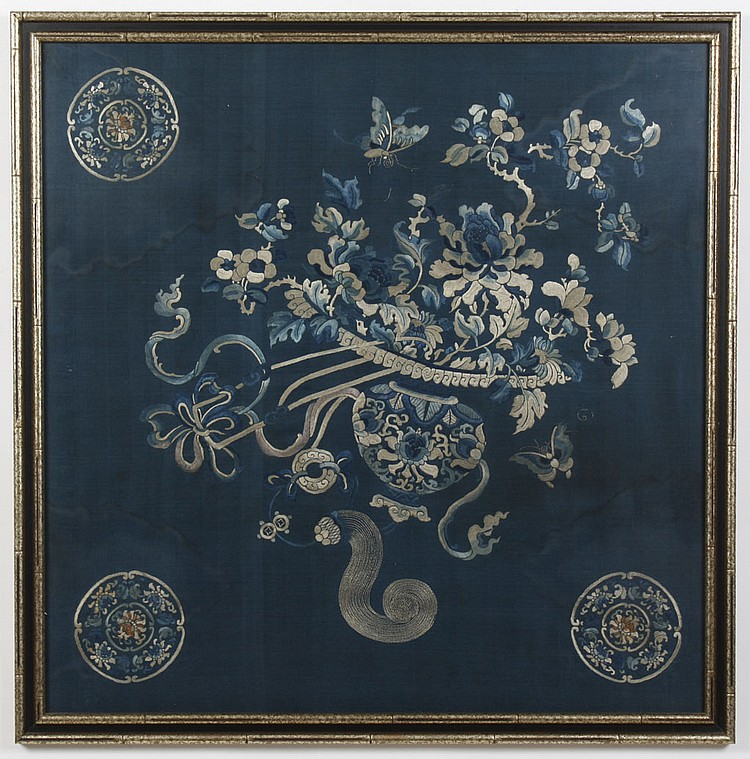 FRAMED VINTAGE CHINESE SILK EMBROIDERY - Framed vintage silk shows flower arrangement with peonies and plum blossoms