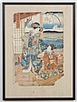 UTAGAWA KUNISADA (178601864, Japan) WOODBLOCK ON PAPER - Signed with toshidama cartouche; shows women wearing floral motif kimonos....