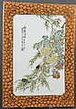 CHINESE PORCELAIN PLAQUE - Orange peel glaze with bats at each corner frames the floral and botanical display; two cicadas cling to...