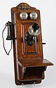 ANTIQUE KELLOGG OAK HAND CRANK WALL TELEPHONE - All original crank, rings, nickel mouth piece and hand piece. Original internal wiri...