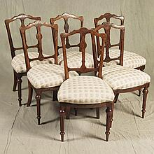 SET SIX PARLOR CHAIRS (En suite)- Antique Victorian Eastlake walnut with incised decorations, open back design with center spine, br...