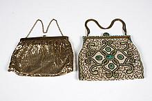 TWO VINTAGE HANDBAGS - One Whiting and Davis gold mesh; marked Whiting and Davis cloth label
