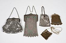 COLLECTION OF 5 VINTAGE MESH EVENING BAGS - Comprising two Whiting and Davis with ornate frames; marked Whiting and Davis and three ...