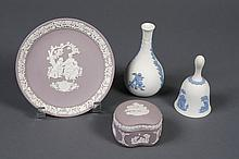 FOUR WEDGWOOD JASPERWARE ITEMS - Two mauve vanity table items; a plate with a