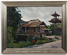 KEN BAXTER (1944- , Utah) OIL ON CANVAS - Signed painting of Ubud (Indonesia) street scene and a woman carrying a blue basket
