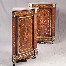 PAIR OF CORNER CABINETS - Antique Italian with marquetry inlaid rosewood veneers, single door configuration with interior shelves, o...