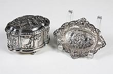 JENNINGS BROTHERS SILVERPLATE JEWELRY CASKET AND 800 SILVER PIN TRAY - Casket (4