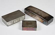 THREE SILVER BOXES - One hinged box (1