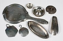 EIGHT ITEMS OF AMERICAN STERLING SILVER - Mismatched items by various makers, e.g. Gorham, Whiting. Includes three sterling frame or...
