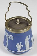 PALE BLUE WEDGWOOD BISCUIT JAR WITH STERLING LID AND HANDLE - Decorated in a neoclassical Greek/Roman motif; silver lid and bail han...
