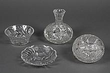 FOUR AMERICAN BRILLIANT DECORATIVE ITEMS - Lot includes 1 sphere form cut glass rose vase 1 bulbous decanter carafe with a 4
