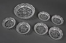 AMERICAN BRILLIANT PERIOD CUT GLASS STRAWBERRY BOWL SET - Large bowl (9