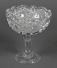 FOOTED CUT GLASS PEDESTAL BOWL - Bowl has deep cut hob-nail and star design on polished stem, cut ridges and thumb indents; foot on...