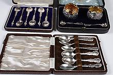 STERLING SILVER APOSTLE SPOONS, DEMITASSE SPOONS AND SALT AND PEPPER SHAKERS - By makers Birks, Glaydon & Sons, others not identifie...