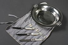 FRUIT KNIVES AND PEWTER DISH - Eleven fruit knives (6