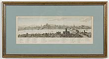 19TH CENTURY MAP: ENGRAVING ON PAPER - This hand-colored antique map is a bird's eye view of
