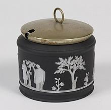 WEDGWOOD BLACK DIP JASPERWARE HONEY POT WITH EPNS LID - With Greek/Roman neoclassical scene ornamented in low relief or sprigging; w...