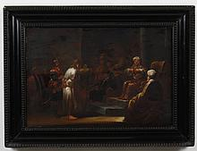 19TH CENTURY OIL PAINTING ON BOARD - A religious painting of Jesus before Pilate, with Jesus standing, surrounded by figures. A hand...