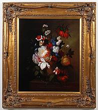 B GARDNER: OIL PAINTING ON CANVAS - Signed at the lower right, this is a floral still life featuring peonies