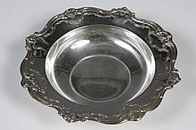 STERLING SILVER DISH - Round serving dish by Gorham with fleur-de-lis and acanthus pattern along the rim. Classic design. Maker is...