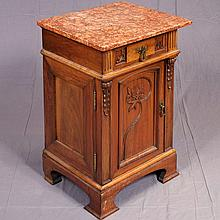 ART NOUVEAU STYLE NIGHT STAND (en suite) - Walnut cabinet with rouge marble top, single drawer over single door storage, relief-carv...