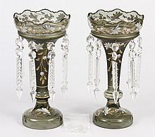 PAIR BOHEMIAN GLASS LUSTRES - Muted green satin and clear glass lustres with floral enamel detail and gilt accents; having cut hangi...