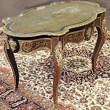 PHOTO ADDED; PARLOR CENTER TABLE - In the style of André-Charles Boulle (1642 – 1732), with faux tortoise and brass inlay, ormolu mo...