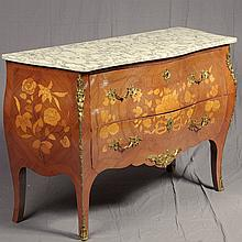 PHOTO ADDED; LOUIS XV BOMBE STYLE COMMODE - Commode in Louis XV style with floral design marquetry, inlaid decoration, two full-widt...