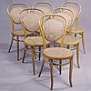 ADDENDUM: J. & J. KOHN; SET EIGHT CAFE SIDE CHAIRS - Antique Austrian bent wood with hoop style back supports with caned inserts, ca...
